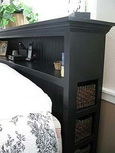 Headboard with side storage for small rooms, no need for nightstand.
