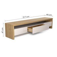 Rack Colonia Rovere e Off White 217 cm Tv Rack Design, Tv Cabinet Design, Tv Unit Furniture, Furniture Design, Tv Stand Decor, Modern Tv Wall Units, Tv Stand Designs, Living Room Tv Unit Designs, Muebles Living