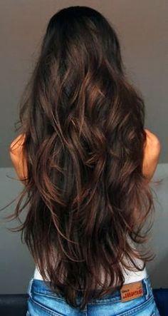 Gorgeous long brunette hair.
