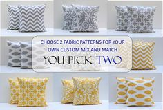 "18"" Pillow Covers Yellow COMBO Zig Zag Pillow Chevron Pillow Greek Key Pillow 18 x 18 PICK 2"