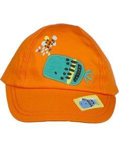Visera de bebé niño Tuc tuc naranja con bordado de pez Leotardos 004d78e8295