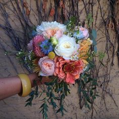 coral and white bridal bouquet (David Austin roses, zinnias, nigella, dahlias, billy buttons)