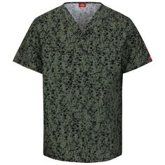 Dickies Fashion Prints Unisex V-Neck Top Abstract Print Scrub Scratch That Olive Style 83727C - STOL Sizes M - 2XL