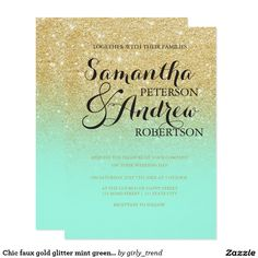 Chic faux gold glitter mint green wedding card Chic faux gold glitter mint green wedding invitation suite collection. A modern, pretty faux gold glitter shower ombre with bright mint green color block with gold ombre pattern fading onto a colorful and vibrant mint background.Perfect for glamor, chic and elegant wedding theme