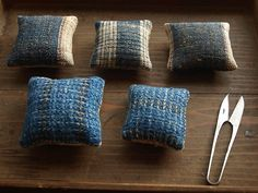 Hand woven textile pin cushion : Textile COCOON : Harue Nishikawa