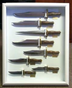 DISPLAY OF 8 VINTAGE RANDALL MADE KNIVES! BRITT BROWN COLLECTION! RKS STIDHAM #RANDALLMADE