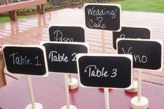 Chalkboard Table Stands for Place Settings Food by LetsTalkChalk, $20.00