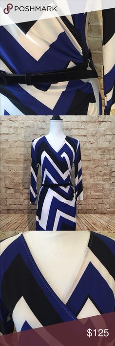 NWT - blue, black, white dress with belt Very pretty dress by Ralph Lauren. It has a v neck. Back zip. Gathers at the side. Colors are bright and beautiful Blue, Black, White. Lauren Ralph Lauren Dresses