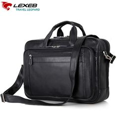 "131.29$  Buy here - http://alitr8.worldwells.pw/go.php?t=32732743544 - ""LEXEB Luxury Brand Men Business Real Genuine Leather Laptop Portfolio Bag 17.3"""" Men's Shoulder Bags High Quality Black Briefcase"" 131.29$"