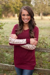 Arm Candy Sequin Sweater Burgundy $41.50