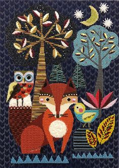 Fox at Night - ellen giggenbach Author, ellen giggenbach from Ruth Schmuff, Stitchguides - Bedecked and Beadazzled Needlepoint Designs, Needlepoint Stitches, Needlepoint Canvases, Needlework, Machine Embroidery Projects, Beaded Crafts, Canvas Designs, Crochet Chart, Plastic Canvas Patterns
