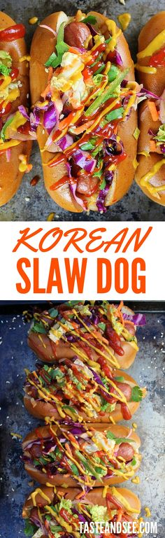 Korean Slaw Dogs: all-beef hot dogs loaded with Korean BBQ sauces, spicy kimchi, & sweet/tangy slaw, topped with kickin' ketchup & mustard. Asian fusion in a… Hot Dog Toppings, Hot Dog Party, Slaw Dog Recipe, Gourmet Hot Dogs, Asian Recipes, Healthy Recipes, Beef Hot Dogs, Hamburgers, Hot Dog Recipes