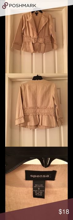 Linen bow detail Kaki jacket 55% linen 45% cotton khaki jacket in excellent condition, worn maybe twice. Cute ruffle and both detail to add a girly flair. Size small Spense Jackets & Coats