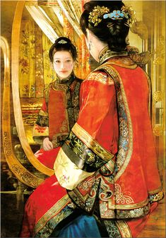 Chinese Beauty by Der Jen (Dezhen) Art Chinois, Art Asiatique, Chinese Design, China Art, Cool Artwork, Amazing Artwork, Beautiful Paintings, Japanese Art, Chinese Painting
