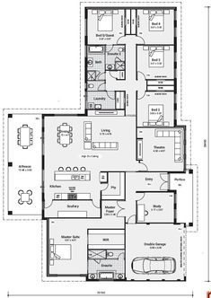 Enjoy the comforts of Daikin air conditioning, high ceilings to the living area and a kitchen with a essastone benchtop and breakfast bar overhang. New House Plans, Dream House Plans, House Floor Plans, My Dream Home, Shower Rose, Brick Construction, House Blueprints, Sims House, Bedroom House Plans
