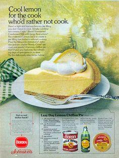 Easy Lemon Chiffon Pie no bake Lemon Pie Recipe, Lemon Dessert Recipes, Lemon Recipes, Milk Recipes, Baking Recipes, Cake Recipes, Lemon Chiffon Pie, Lemon Icebox Pie, Retro Recipes
