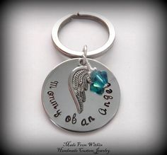 Mom of an angel- Memorial/Rembrance Key Chain- Handstamped Jewelry