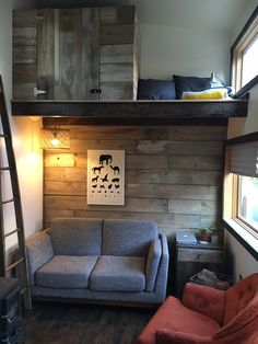 To Be Tanlers Tiny House In Oregon  Love the seating space and the small wood stove.