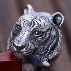 Men's Sterling Silver Tiger Head Ring
