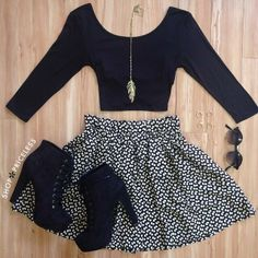 high waist skirt, crop top, and ankle boots