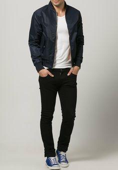 HARRINGTON - BOMBER - Übergangsjacke (Marine/Kaki/Noir) - 99,95 € Men's Jackets, Outerwear Jackets, Navy Bomber Jacket, Vests, Men's Fashion, Fall Winter, Nice, Clothes, Outfits