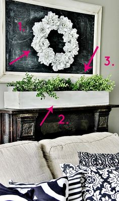One Room Three Ways:  Family Room Decorating Ideas Framed chalkboard with wreath over the mantel. Love this simple idea for a striking focal point!