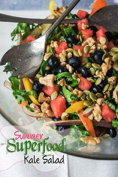 Summer Superfood Kale Salad -- summer isn't over yet, and these summer superfoods should be on your plate a bit longer!