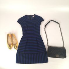 Royal Blue and Black Stripe dress In excellent condition. Fabric is stretchy.Length from the shoulder: 31 inches. Check out my closet for matching purse and shoes. Shoes and bag not for sale. Banana Republic Dresses Mini