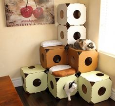Catty Stacks Modular Cat Condos, Chocolate Brown New   Too Expensive But  Can Make/build