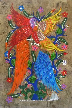 Mexico ~ Luis Cabrera Ortiz ~ Birds Of Paradise, bark painting