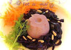 Flan di tofu ,cavolo viola e pinoli