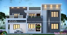 2997 square feet 4 bedroom flat roof style modern house plan by Dream Form from Kerala. House Front Wall Design, House Roof Design, Flat Roof House, Duplex House Design, Home Building Design, Modern Exterior House Designs, Modern Small House Design, Minimalist House Design, Beautiful House Plans