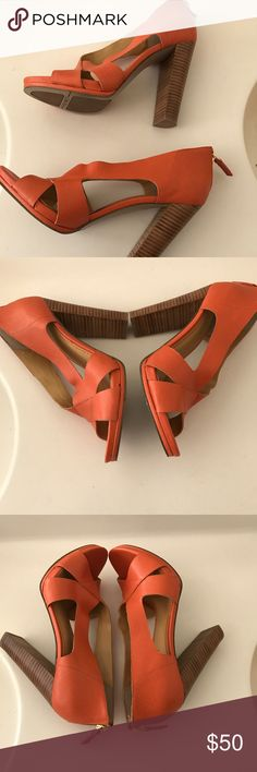 """Beautiful Orange Shoes with  wooden Heels Beautiful Orange High Heel Shoes with back zipper by Nine West. These shoes were worn only once. In excellent preowned condition.  There are scuff marks in the button due to wear.                                                                                     Size:6.5                                                                                    Heel:4.5"""" Nine West Shoes Heels"""