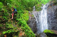 Making our way to the third waterfall in the rainforest of Raiatea Island