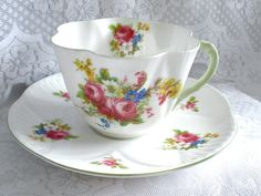Shelley Fine China Tea Cup and Saucer Dainty Hulmes Rose