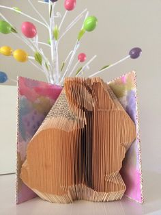 Reading With Scissors: Folded book bunny from Eggstravaganza Countdown: 10 Days