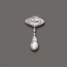 AN EXQUISITE BELLE EPOQUE DIAMOND AND NATURAL PEARL BROOCH, BY CHARLTON   Centering upon a marquise-cut diamond, within an old European and single-cut diamond surround, suspending an old European-cut diamond collet line, to the old European-cut diamond cap and pearl drop, measuring approximately 13.00 x 10.60 mm, mounted in platinum, circa 1920  Signed Charlton