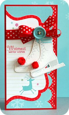 Love the turquoise, white and red - always a punchy, feel good palette! #cards #card_making #Christmas