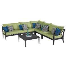 Classic comfort meets contemporary design in the Astoria 6 piece Sectional and Table in Ginkgo Green
