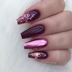 The cute acrylic nails are perfect for winter vacation Hope you . - The cute acrylic nails are perfect for winter vacation Hope you … – Beauty – The c - Coffin Nails Glitter, Cute Acrylic Nails, Acrylic Nail Designs, Gold Glitter, Purple Nail Art, Pink Nails, Gel Nails, Purple Chrome Nails, Magenta Nails