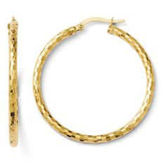 14k Textured Hoop Earrings. $261