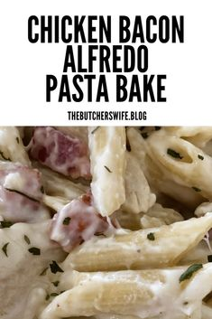 Chicken Bacon Alfredo Pasta Bake - comfort food that will leave you happy and full! Creamy alfredo sauce over penne pasta with mozzarella cheese, bacon and chicken baked so it is warm, melty and delicious- yes please! Alfredo Pasta Bake, Chicken Bacon Alfredo, Penne Pasta, Alfredo Sauce, Sauce For Chicken, Chicken Recipes, Pasta Recipes, Homemade Spaghetti Sauce, Homemade Alfredo