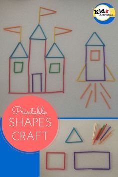 Fine motor -- Printable shapes craft: A Princess Castle and a Rocketship by Kidz Activities Princess Activities, Princess Crafts, Craft Stick Crafts, Preschool Crafts, Crafts For Kids, Summer Crafts, Preschool Ideas, Eyfs Activities, Activities For Kids