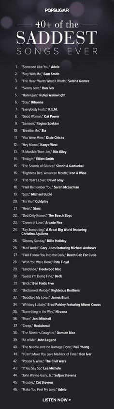40+ sad songs to boost your mood. Really. I know a few of these and they are really sad but also really good .