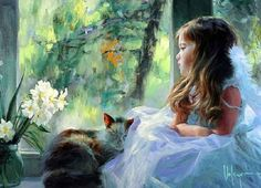Cat and people paintings. Vladimir Volegov.
