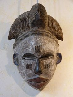 Antique for sale African Ibo or Igbo white mask with black nose Mask Head Sculpture Fine arts architecture