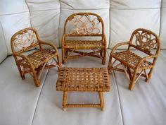 Puppenstube Puppenhäuser Möbel Rattan Sessel Bank Tisch Gartenmöbel Garten