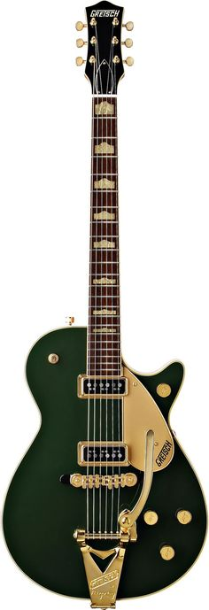 A truly rare bird flies again—the Cadillac® Green Duo Jet™. Back after nearly 50 years in the form of the G6128TCG Duo Jet, it has a single-cutaway chambered body in a mahogany stain finish with a striking Cadillac® green arched top. Features include 1-piece mahogany neck, rosewood fingerboard with aged vintage-style hump block inlays, aged bindings, dual DynaSonic™ single-coil pickups, gold plexi pickguard, gold-plated Synchro-Sonic™ bridge & Bigsby® B3G vibrato tailpiece.