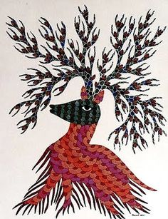 Indian tribal art. Unassuming, underpaid and brilliant. This is a beautiful Gond piece.