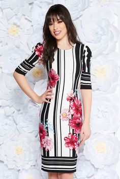 StarShinerS black dress daily midi scuba with print details with tented cut, print details, tented cut, without clothing, 3/4 sleeves, scuba, double knit from neoprene with vivid and colourful or 3D prints